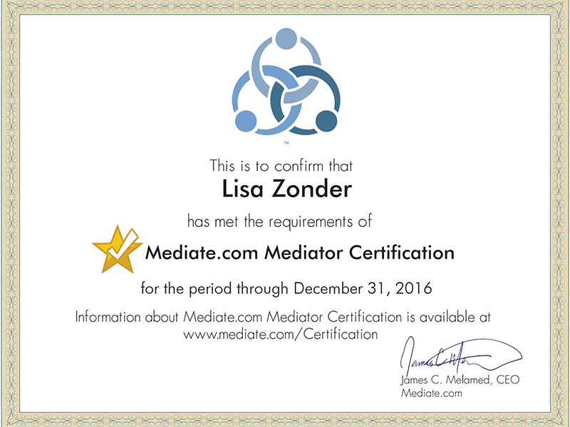 Lisa Zonder, Certified Mediator